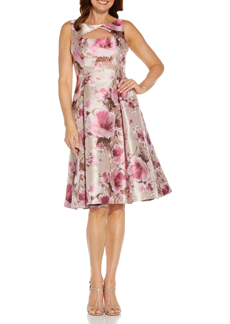 Women's Adrianna Papell Metallic Floral Jacquard Fit & Flare Cocktail Dress