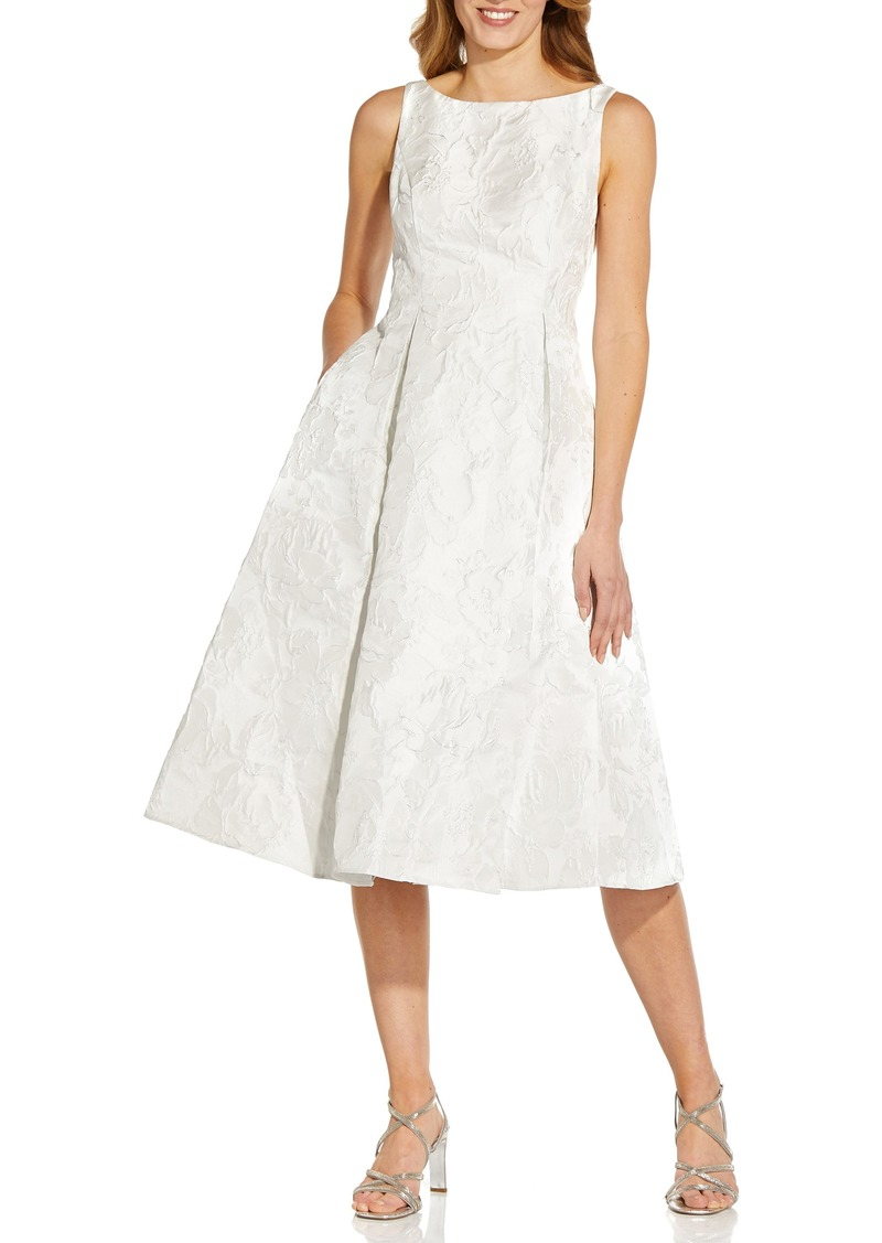 Women's Adrianna Papell Metallic Floral Jacquard Midi Dress