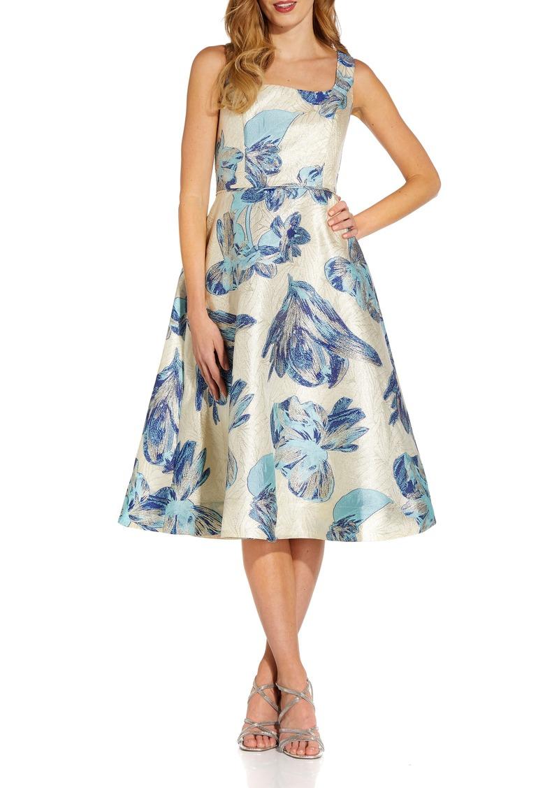 Women's Adrianna Papell Metallic Floral Jacquard Sleeveless Fit & Flare Cocktail Midi Dress