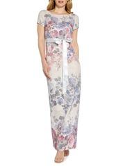 Adrianna Papell Metallic Floral Matelasse Column Gown