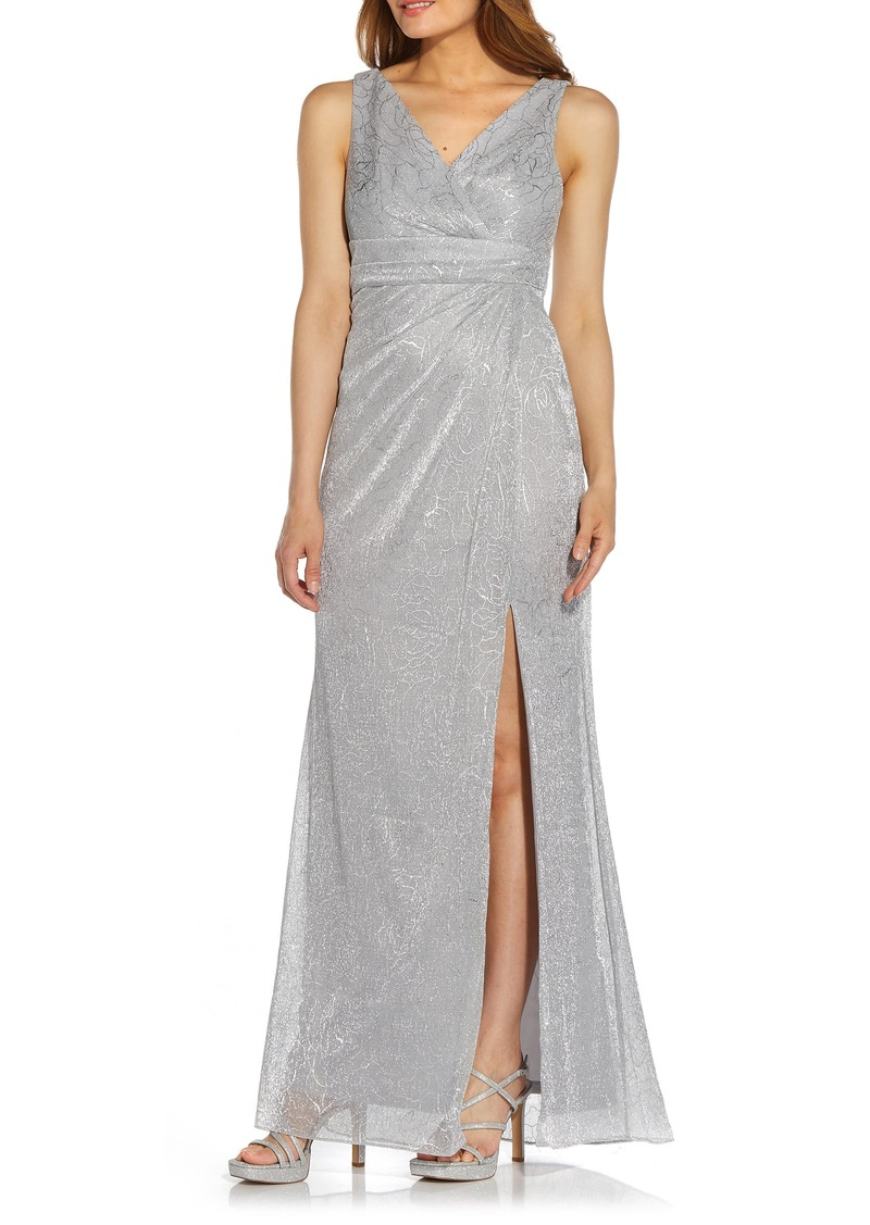 Women's Adrianna Papell Metallic Floral Stencil Mesh Draped Gown