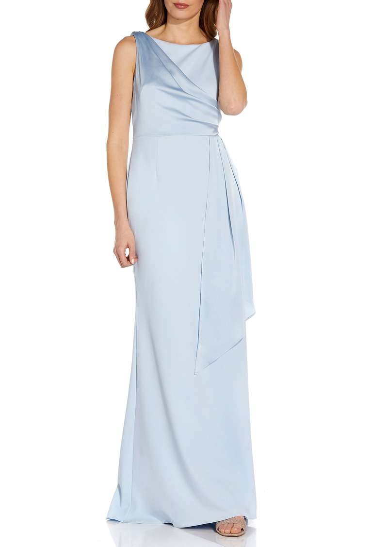 Women's Adrianna Papell Satin Drape Crepe Gown