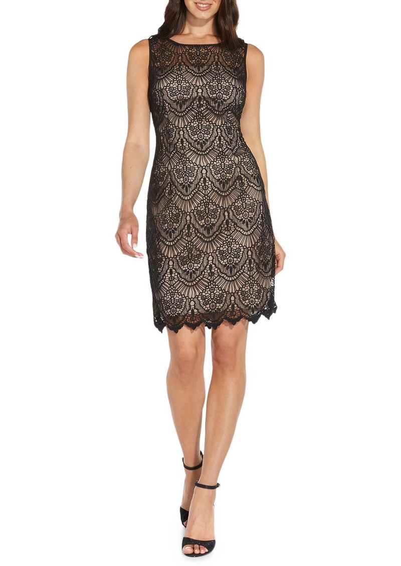 Adrianna Papell Scallop Guipure Lace Sheath Dress