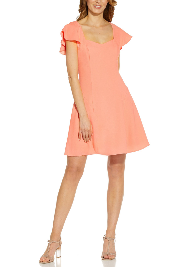 Women's Adrianna Papell Sweetheart Neck Crepe Fit & Flare Dress