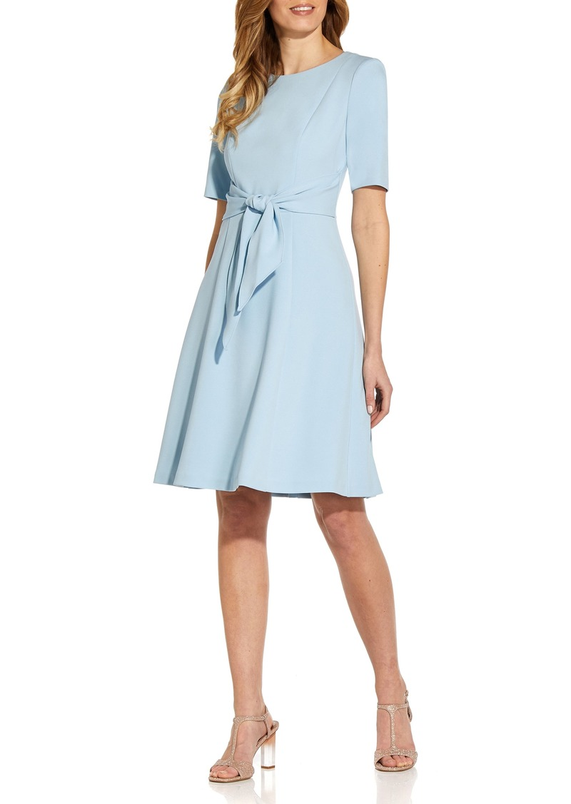 Women's Adrianna Papell Tie Front Fit & Flare Crepe Dress