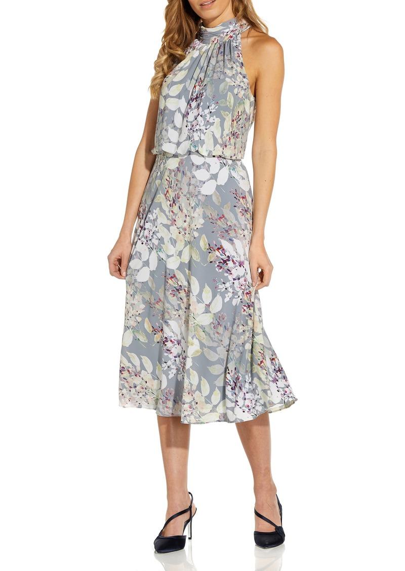 Women's Adrianna Papell Watercolor Floral Halter Neck Chiffon Midi Dress