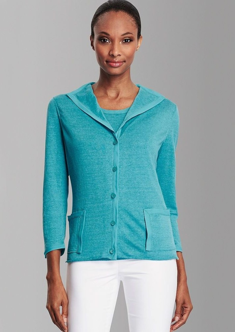 Lafayette 148 New York Button Front Linen Cardigan