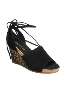 Aerosoles Spring Plush Suede Wedge Sandals