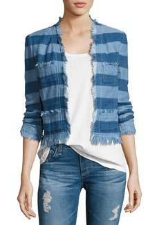 AG Adriano Goldschmied AG Capucine Striped Open-Front Denim Jacket