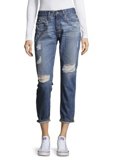 AG Adriano Goldschmied Distressed Cropped Cotton Denim Pants