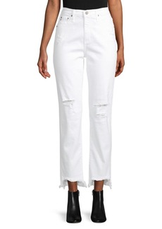 AG Adriano Goldschmied Distressed High-Waisted Jeans