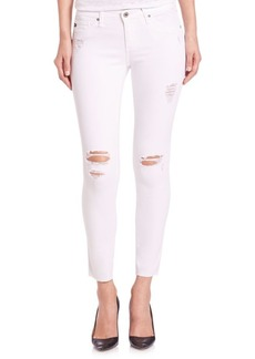 Distressed Legging Ankle Raw-Hem Jeans