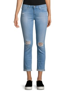 Distressed Roll-Up Jeans