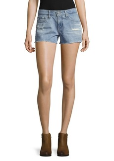 AG Adriano Goldschmied Frayed Cotton Denim Shorts