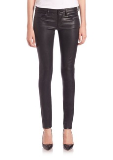AG Adriano Goldschmied Leather Five-Pocket Skinny Jeans