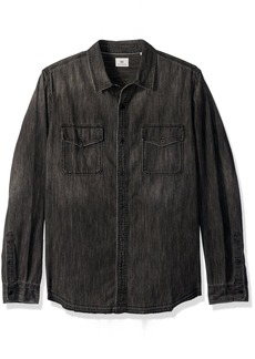 AG Adriano Goldschmied Men's Benning Long Sleeve Denim Shirt Let Down Hem  L