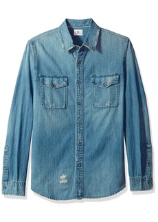 AG Adriano Goldschmied Men's Benning Mended Long Sleeve Denim Shirt 14 Years Beta XXL