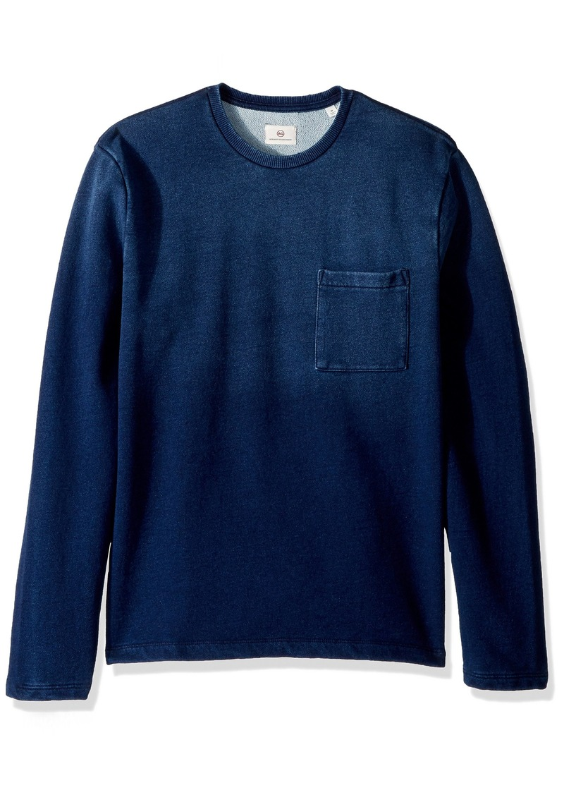 AG Adriano Goldschmied Men's Bryon Long Sleeve Indigo Pocket Crew  S