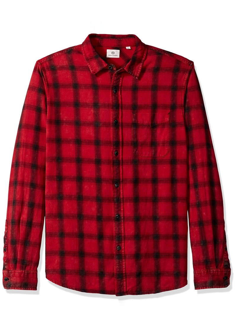 AG Adriano Goldschmied Men's Colton Long Sleeve Washed Plaid Button Down Years Faded red/Black L