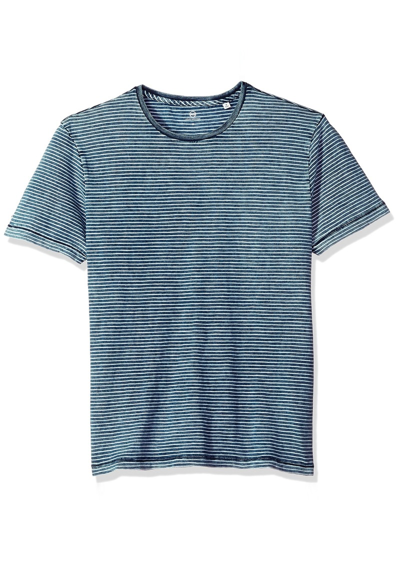 AG Adriano Goldschmied Men's Julian Short Sleeve Indigo Stripe Crew Marbled White L