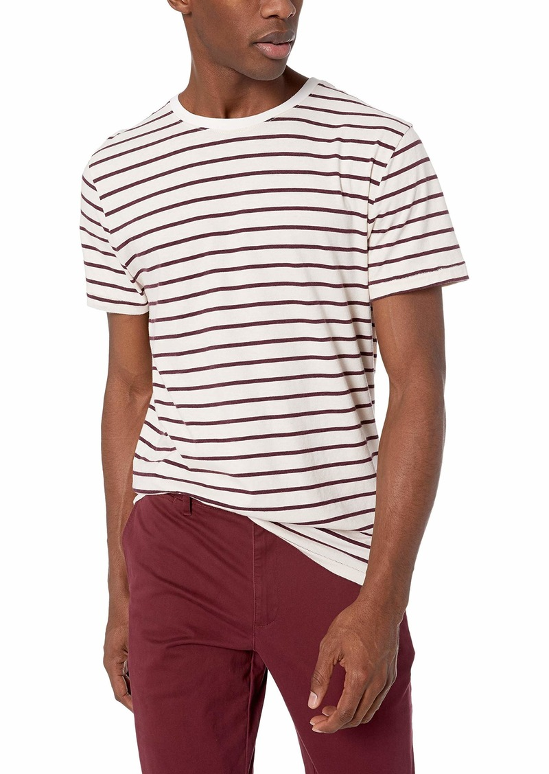 AG Adriano Goldschmied Men's Julian Stripe Crew Ivory dust/Rich Carmine