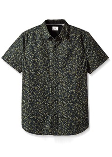 AG Adriano Goldschmied Men's Nash Short Sleeve Button Down Shirt Floral camo Black Climbing Ivy M