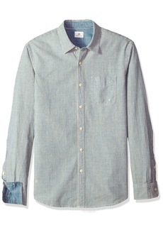 AG Adriano Goldschmied Men's Nelson Long Sleece Stripe Chambray Button Down Shirt  XXL