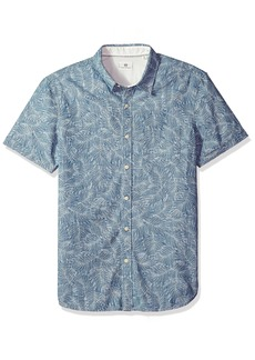 AG Adriano Goldschmied Men's Pearson Short Sleeve Chambray Print Button Down Shirt Leaves Indigo/White M