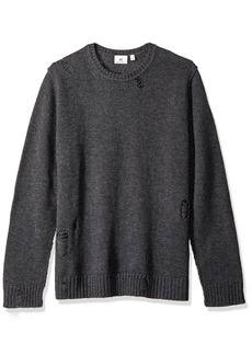 AG Adriano Goldschmied Men's Thoman Long Sleeve Destructed Crew Sweater  L
