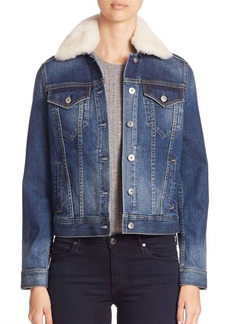 AG Adriano Goldschmied Mya Shearling Collar Denim Jacket