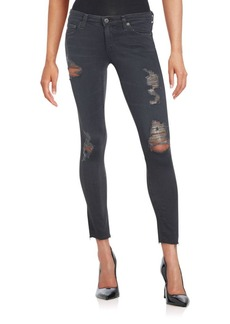 AG Adriano Goldschmied Raw Hem Distressed Cropped Jeans