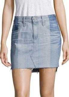 AG Adriano Goldschmied Sandy Colorblock Denim Mini Skirt