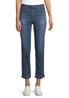 Skinny Crop Split Hem Jeans