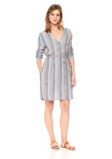 AG Adriano Goldschmied Women's Anna Henley Dress Blue fig Multi S