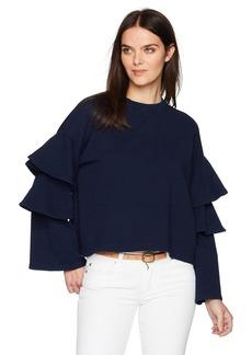 AG Adriano Goldschmied Women's Pearl Ruffle Sweatshirt  XS