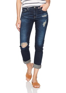 AG Adriano Goldschmied Women's The Ex-Boyfriend Slim Destructed Raw Hem Jean 7 Years-Dark Tide