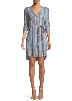 AG Anna Henley Belted Striped Cotton Dress