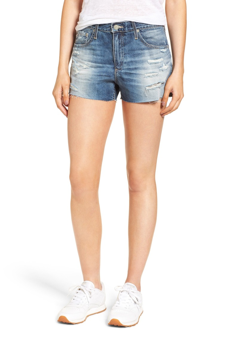 AG Adriano Goldschmied AG Bryn High Rise Cutoff Denim Shorts (19 Years Quilted Blue)