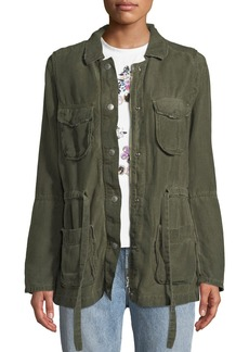 AG Adriano Goldschmied Carell Snap-Front Cinched-Waist Utility Jacket
