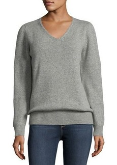 AG Cashmere Cable-Trim Sweater