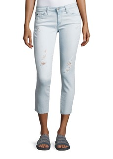 AG Cropped Distressed Denim Jeans