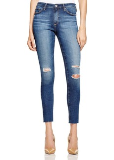 AG Destructed Skinny Midi Ankle Jeans in Dark Blue - 100% Bloomingdale's Exclusive