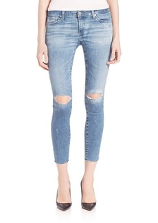 AG Distressed Paint Splattered Legging Ankle Jeans With Raw Hem