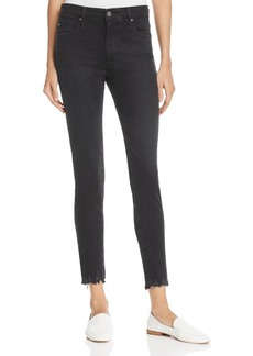 AG Farrah Destroyed Hem Skinny Ankle Jeans in Black Storm
