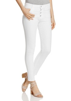 AG Farrah Exposed-Button Skinny Jeans in White
