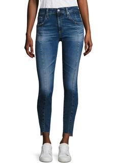 AG Farrah High-Rise Pintuck Step Hem Skinny Jeans