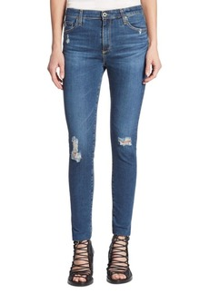 AG Farrah High-Rise Skinny Cropped Distressed Jeans