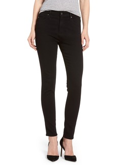 AG Farrah High Waist Ankle Skinny Jeans (Super Black)