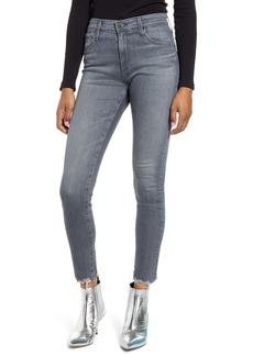 AG Adriano Goldschmied AG Farrah High Waist Frayed Hem Ankle Skinny Jeans (Gray Light)