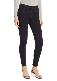 AG Adriano Goldschmied AG Farrah High Waist Raw Hem Skinny Jeans (Altered Black)